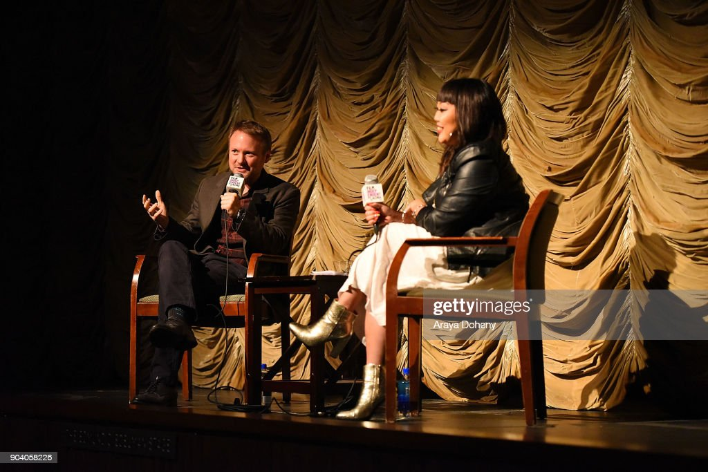 Rian Johnson and Jen Yamato attend the Film Independent at LACMA presents an evening with Rian Johnson at LACMA on January 11, 2018 in Los Angeles, California.