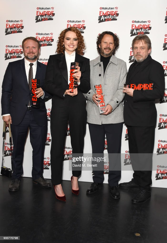 Rian Johnson, Daisy Ridley, Ram Bergman and Mark Hamill pose in the winners room at the Rakuten TV EMPIRE Awards 2018 at The Roundhouse on March 18, 2018 in London, England.