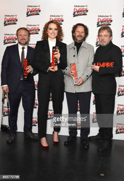 Rian Johnson Daisy Ridley Ram Bergman and Mark Hamill pose in the winners room at the Rakuten TV EMPIRE Awards 2018 at The Roundhouse on March 18...