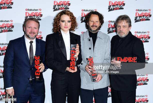 Rian Johnson wins Best Director and Best Film for Star Wars Daisy Ridley wins the Best Actress Award producer Ram Bergman and Mark Hamill with his...