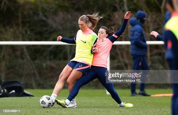 Rianna Dean and Lucy Quinn of Tottenham Hotspur Women during the Tottenham Hotspur Women training session at Tottenham Hotspur Training Centre on...