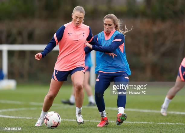Rianna Dean and Shelina Zadorsky of Tottenham Hotspur Women during the Tottenham Hotspur Women training session at Tottenham Hotspur Training Centre...