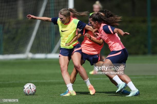 Rianna Dean and Siri Worm of Tottenham Hotspur Women during the Tottenham Hotspur Women training session at Tottenham Hotspur Training Centre on July...