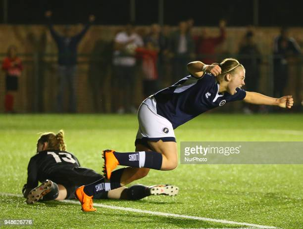 Rianna Dean of Millwall Lionesses LFC celebrates scoring her sides first goal and scores her sides equalising goal to make the score 11 during FA...