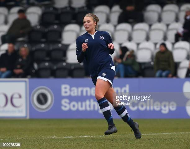 Rianna Dean of Millwall Lionesses L during The FA Women's Cup Fifth Round match between Arsenal against Millwall Lionesses at Meadow Park Borehamwood...