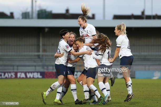 Rianna Dean of Tottenham Hotspur Women celebrating her teams second goal during the Barclays FA Women's Super League match between Tottenham Hotspur...