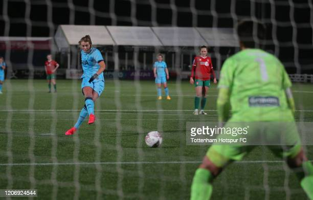 Rianna Dean scores the third goal for Tottenham Hotspur Women from the penalty spot during the Women's FA Cup Fifth Round match between Tottenham...