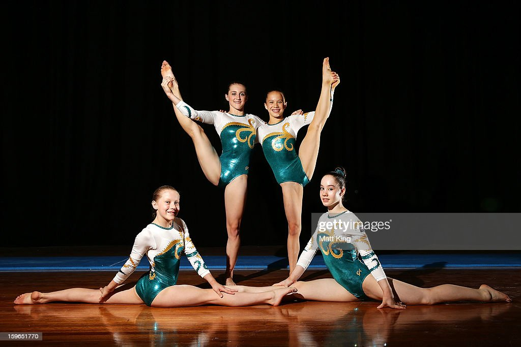 Rianna Mizzen, Alex Eade, Aliza Freeman and Eden Tarvit of Australia pose after claiming a bronze medal in the Women's Artistic Gymnastics Team Competition during day three of the Australian Youth Olympic Festival at Sydney Olympic Park Sports Centre on January 18, 2013 in Sydney, Australia.