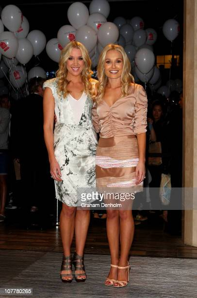 Rianna Ponting and Lee Furlong pose at the launch of the David Jones boxing day clearance sale at the Bourke Street Mall flagship store on December...