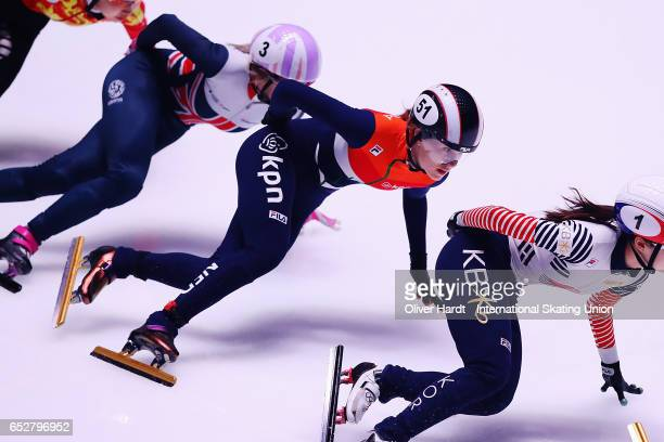 Rianne de Vries of Netherlands competes in the Ladies 1000m semi finals race during day two of ISU World Short Track Championships at Rotterdam Ahoy...