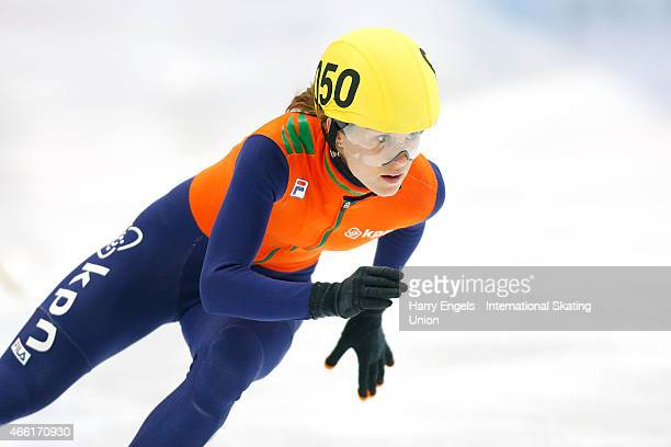 Rianne de Vries of the Netherlands in action during the Ladies' 500m RRHeats on day two of the ISU World Short Track Speed Skating Championships at...