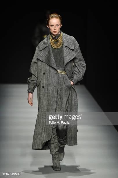 Rianne van Rompaey walks the runway during the Alberta Ferretti fashion show as part of Milan Fashion Week Fall/Winter 2020-2021 on February 19, 2020...