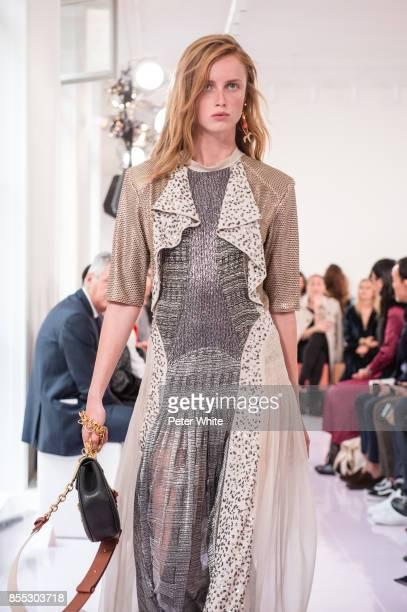 Rianne van Rompaey walks the runway during the Chloe show as part of the Paris Fashion Week Womenswear Spring/Summer 2018 on September 28 2017 in...