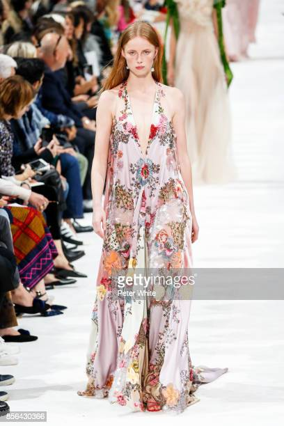 Rianne van Rompaey walks the runway during the Valentino show as part of the Paris Fashion Week Womenswear Spring/Summer 2018 on October 1 2017 in...