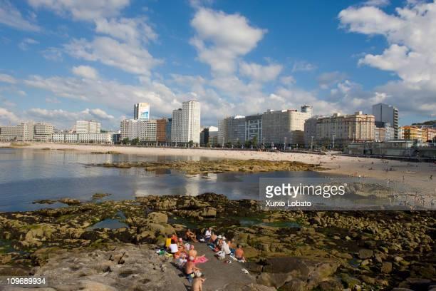 Riazor beach in the city of A Coruna, Galicia region, 30th June 2009.
