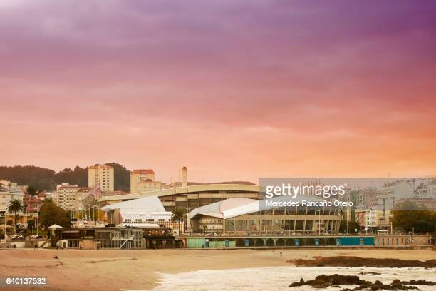 riazor soccer stadium. - a coruña stock pictures, royalty-free photos & images