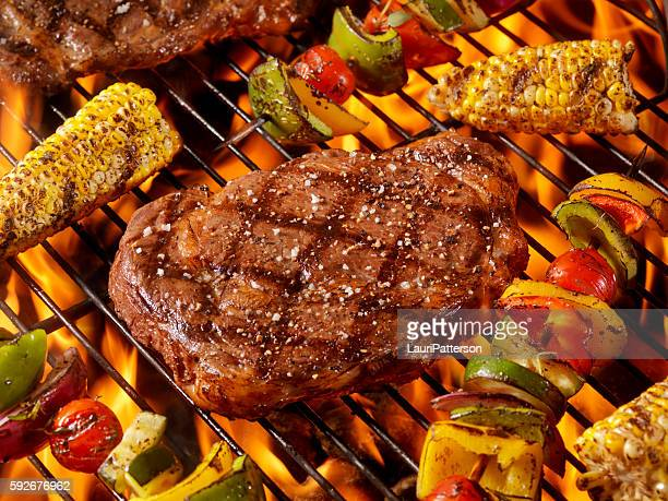 BBQ Rib Eye Steaks with Corn and Veggie Kabobs