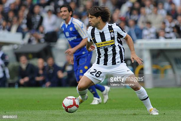 Ribas Da Cunha Diego of Juventus FC in action during the Serie A match between Juventus FC and Parma FC at Stadio Olimpico di Torino on May 9 2010 in...