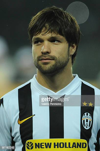 Ribas Da Cunha Diego of Juventus looks on prior to the UEFA Europa League Round 32 second leg match between Juventus and Ajax on February 25 2010 in...