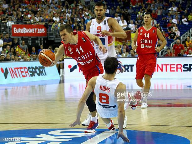 Ribas of Spain is in action against Nedovic of Serbia during the EuroBasket 2015 group B match between Spain and Serbia at MercedesBenz Arena in...