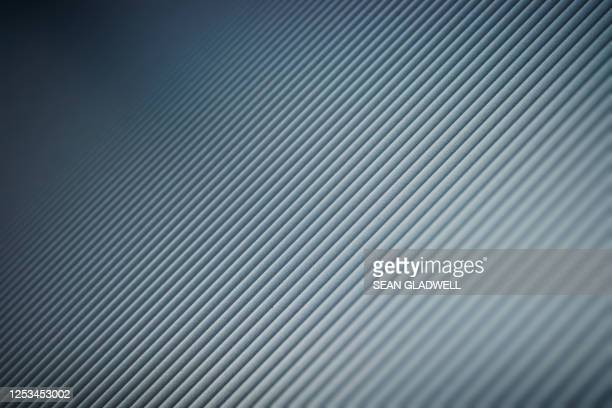 ribbed aluminum background - silver coloured stock pictures, royalty-free photos & images