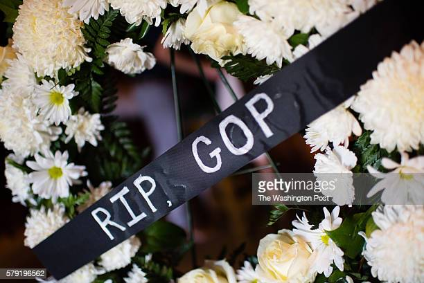 GOP ribbon is featured on an funeral wreath A traditional Irish wake was held at The Dubliner Irish bar in Washington DC on Thursday July 21 2016 to...