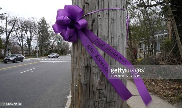 A ribbon is tied to a pole outside the Young Israel of New Rochelle synagogue in New Rochelle New York on March 10 at the centre of a Westchester...