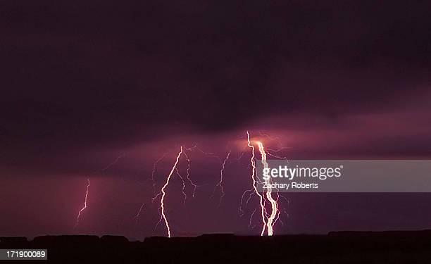 Ribbon lightning rains down over Texas near Lubbock from a severe thunderstorm on October 12 2012.