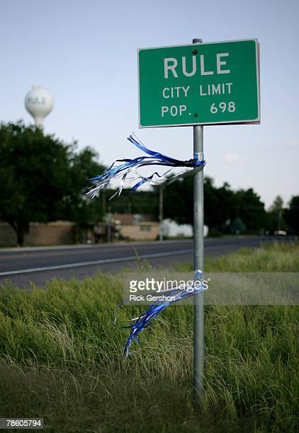 Ribbons adorn the town population sign to warn the out of town teams of their pride and school spirit on October 12 2007 in Rule Texas The Rule...