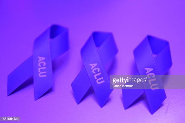 ACLU ribbons on display at Full Frontal With Samantha Bee's Not The White House Correspondents' Dinner After Party at the W Hotel POV Rooftop on...