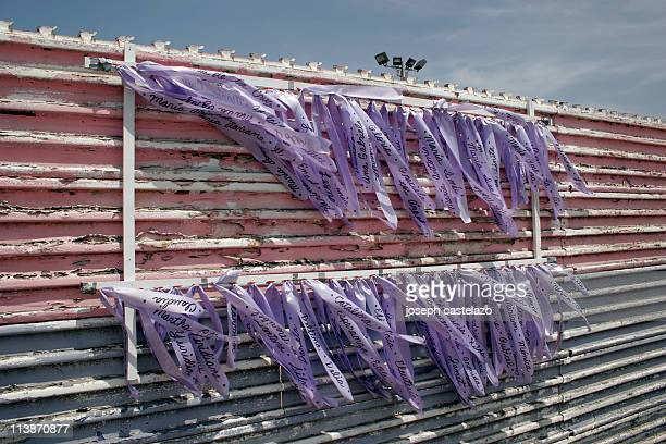 Ribbons with the names of dead migrant women