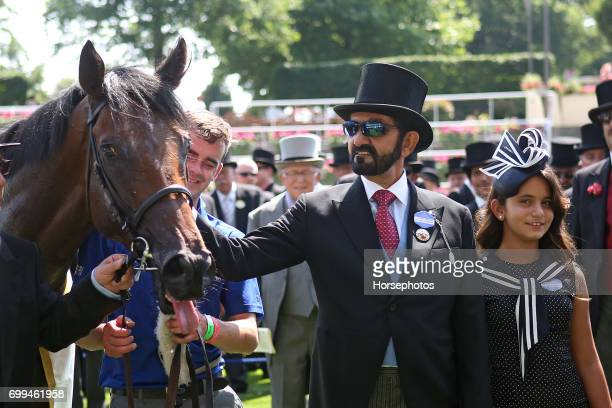 Ribchester with owner Mohammed bin Rashid al Maktoum after winning the Queen Anne Stakes at Ascot Racecourse on June 20 2017 in Ascot England