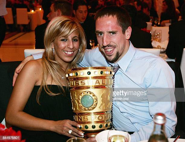 Ribery Franck Football Midfielder FC Bayern Munich France with wife Wahiba Belhami at the banquet after winning DFB cup