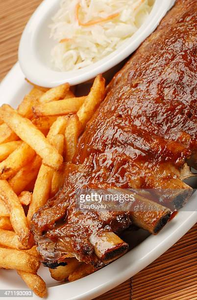Ribs, french fries and coleslaw