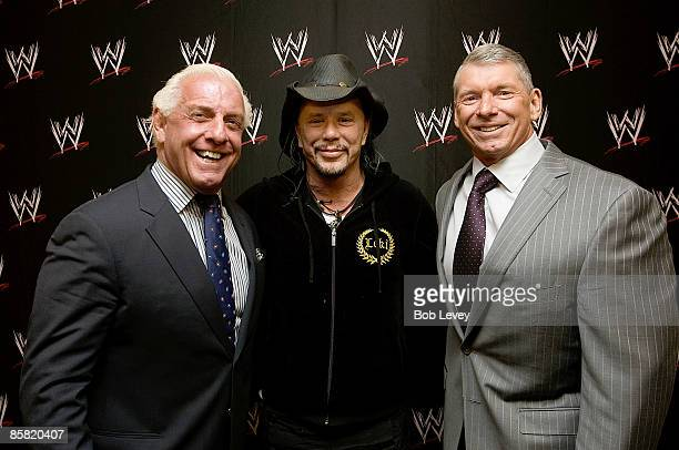 "RIc Flair, actor Mickey Rourke, WWE Chairman Vince McMahon backstage before ""WrestleMania 25"" at the Reliant Stadium on April 5, 2009 in Houston,..."