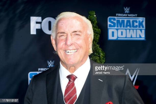 Ric Flair attends WWE 20th Anniversary Celebration Marking Premiere of WWE Friday Night SmackDown on FOX at Staples Center on October 04, 2019 in Los...