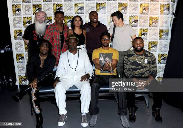 Ric Meyers Denzel Whitaker Kat Graham Demetrius Shipp Jr and Keean Johnson Shameik Moore Wesley Snipes RZA and Tyron Woodley pose at RZA Movies Music...
