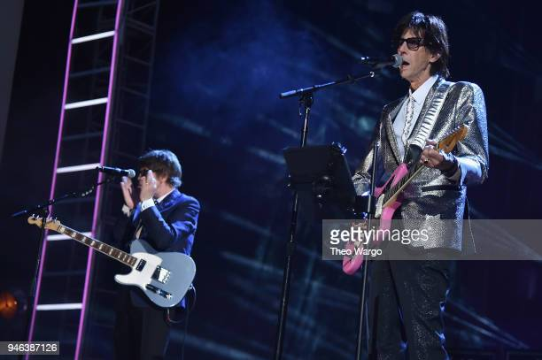 Ric Ocasek of the Cars performs during the 33rd Annual Rock & Roll Hall of Fame Induction Ceremony at Public Auditorium on April 14, 2018 in...