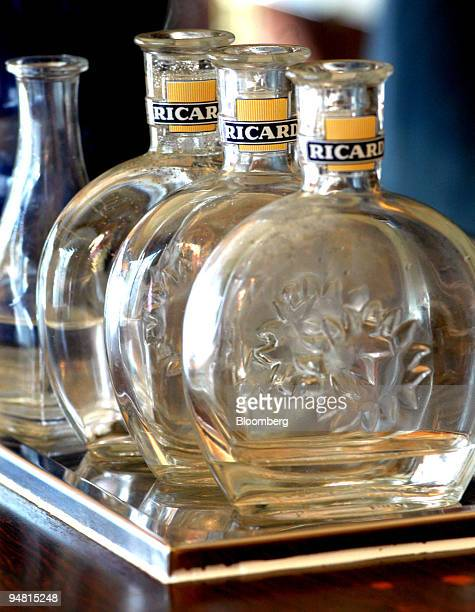 Ricard bottles used to serve water with pastis are seen in Paris France Wednesday March 16 2005 Pernod Ricard SA the world's thirdlargest liquor...