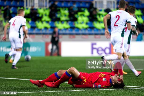 Ricard Fernandez 'Cucu' of Andorra reacts during the FIFA World Cup 2022 Qatar qualifying Group I match between Andorra and Hungary on March 31, at...