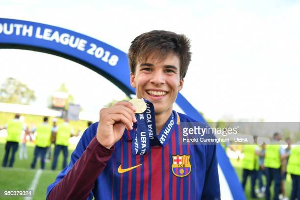 Ricard Puig of FC Barcelona following the UEFA Youth League Final between Chelsea FC and FC Barcelona at Colovray Sports Centre on April 23, 2018 in...