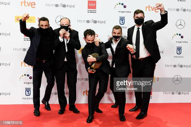 Ricard Sales, Luis Ferron, Luis Lopez Carrasco, Pedro Palacios and Sergio Jimenez poses in the Press Room after winning the Best Documentary Film...