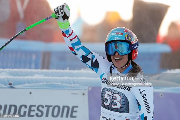 Ricarda Haaser of Austria celebrates during the Audi FIS Alpine Ski World Cup Women's Downhill on January 21 2017 in GarmischPartenkirchen Germany