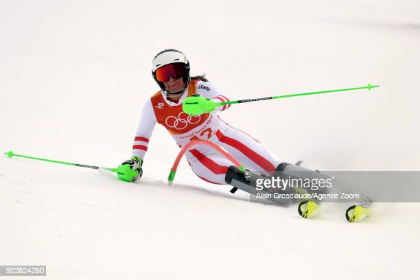 Ricarda Haaser of Austria in action during the Alpine Skiing Women's Combined at Jeongseon Alpine Centre on February 22 2018 in Pyeongchanggun South...