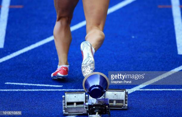 Ricarda Lobe of Germany prepares to start in the Women's 100m Hurdles heats during day two of the 24th European Athletics Championships at...
