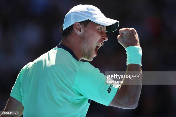 Ricardas Berankis of Lithuania celebrates winning a point in his first round match against Stan Wawrinka of Switzerland on day two of the 2018...