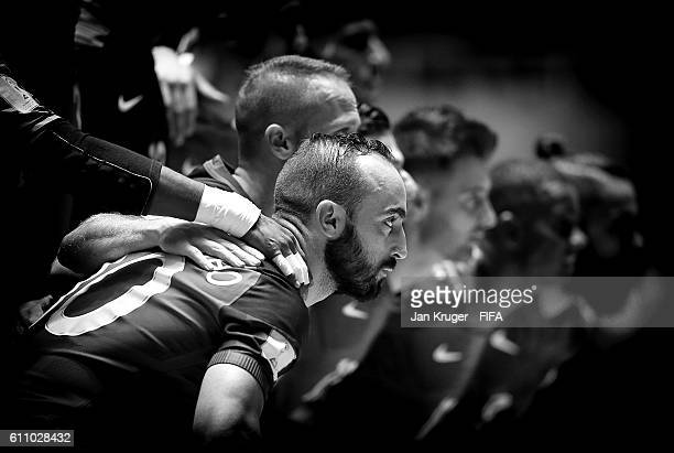 Ricardinho captain of Portugal and his team pose for a team picture during the FIFA Futsal World Cup semifinal match between Argentina and Portugal...