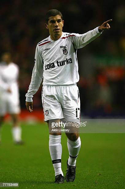 Ricardinho of Besiktas gestures during the UEFA Champions League Group A match between Liverpool and Besiktas at Anfield on November 6 2007 in...