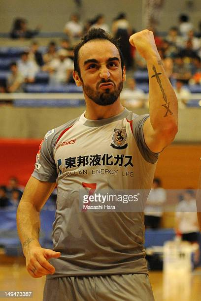 Ricardinho of Nagoya Oceans celebrates the win after the FLeague match between Bardral Urayasu and Nagoya Oceans at Urayasu Gymnasium on July 29 2012...