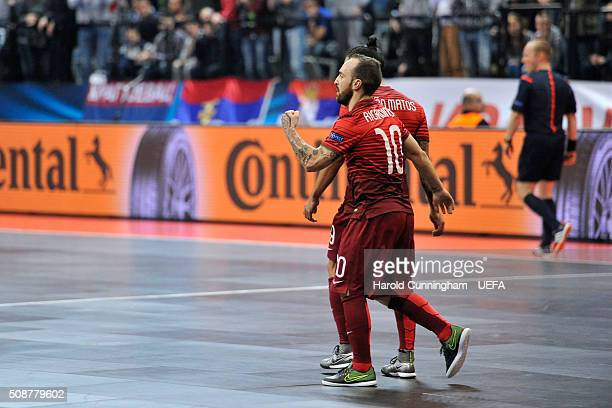 Ricardinho of Portugal celebrates a goal during the UEFA Futsal EURO 2016 match between Portugal and Serbia at Arena Belgrade on February 6 2016 in...